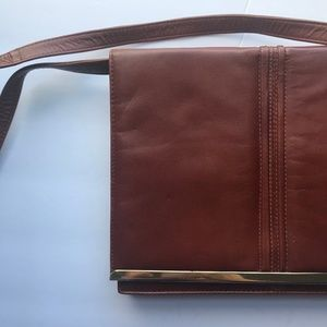 Brown Leather Purse, Tano Leather Bag, Gold Bag